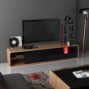 简约烤漆浅木纹弧形电视柜储物柜电视机柜地柜组合柜大小户型热卖