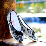 Step by step, Ms., autumn, old Beijing cloth shoes, handmade, layer, bottom, shallow mouth, flat shoes, printed shoes, national wind