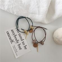 韩国彩色木质发绳金属五角星幸运星打结百搭基础珠子发圈头绳发饰