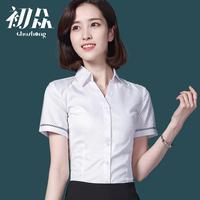 衬衫女夏季2018新款短袖白色V领职业装棉修身半袖职业装衬衣女