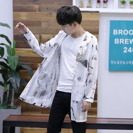夏季男士防晒衣服韩版潮流中长款风衣外套百搭超薄款透气防晒服男图片