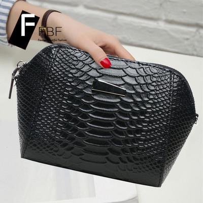 fbf女士手包真皮鳄鱼纹手拿包欧美时尚手机包牛皮单肩斜跨贝壳包