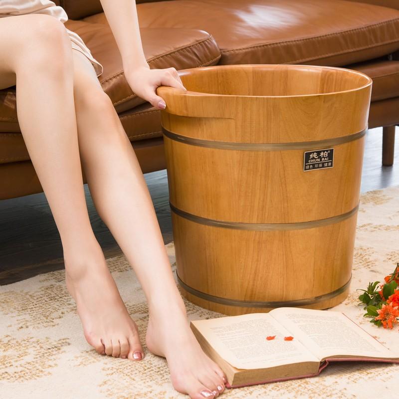 纯柏家用橡木泡脚木桶足浴桶洗脚木桶养生穴位浴足桶带按摩珠脚盆