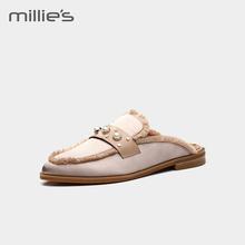 millie's/妙丽2018沙丁布珍珠圆头平底休闲穆勒鞋女LN801AH8