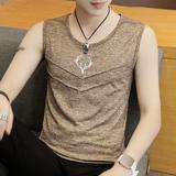 夏季男士冰丝背心潮流韩版修身型砍袖汗衫男潮牌学生坎肩无袖T恤