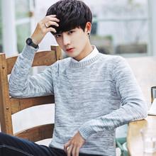 冬季男士毛衣韩版加绒加厚圆领针织衫打底毛衫毛线衣潮流个性男装