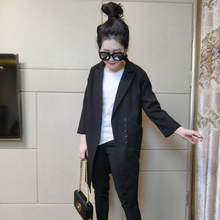 Korean version of small suit women's jacket nine-sleeve medium-long style in the spring and autumn of 2019 new black suit women's jacket thin fashion trend