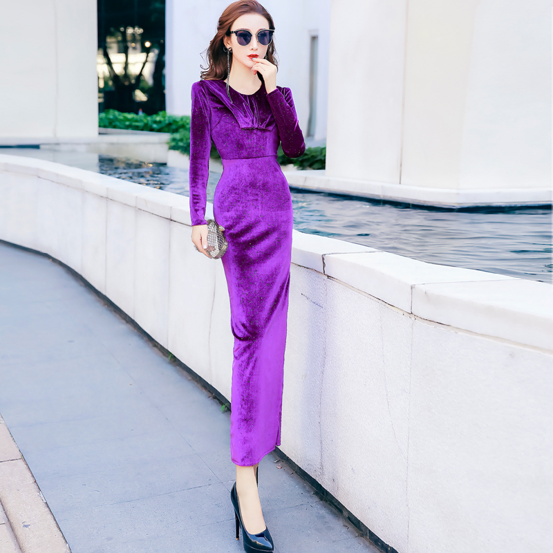 Feminine dress autumn and winter new fashion noble temperament was thin long-sleeved dress