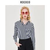 韩版 衬衣休闲雪纺衬衫 直播 条纹衬衫 女打底长袖 洛可可新款