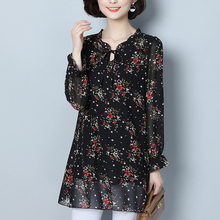 Long-sleeved printed chiffon shirt for large-size women's clothes, fattening and loosening, fat woman's jacket, fat woman's long-sleeved spring clothes