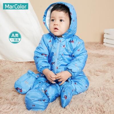 马卡乐童装婴儿连体衣男童加厚保暖棉衣哈衣新生儿衣服冬季外出服