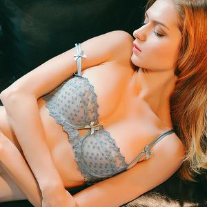 少女美屋秋性感半杯文胸超薄蕾丝刺绣无海绵透明薄款内衣灰色奶罩