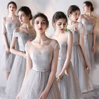 Summer bridesmaid dress 2019 new gray bridesmaid dress sisters skirt Slim evening dress female party dress