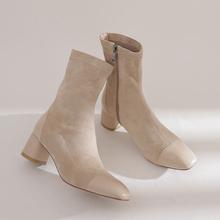 英伦小香风秋冬杏色拼接方头弹力瘦瘦靴粗跟5cm高跟短靴女马丁靴