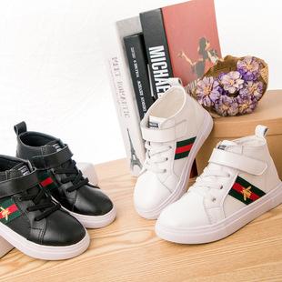 日韩代购新款高帮中大童牛皮童鞋韩版童鞋魔术贴男童女童休闲板鞋