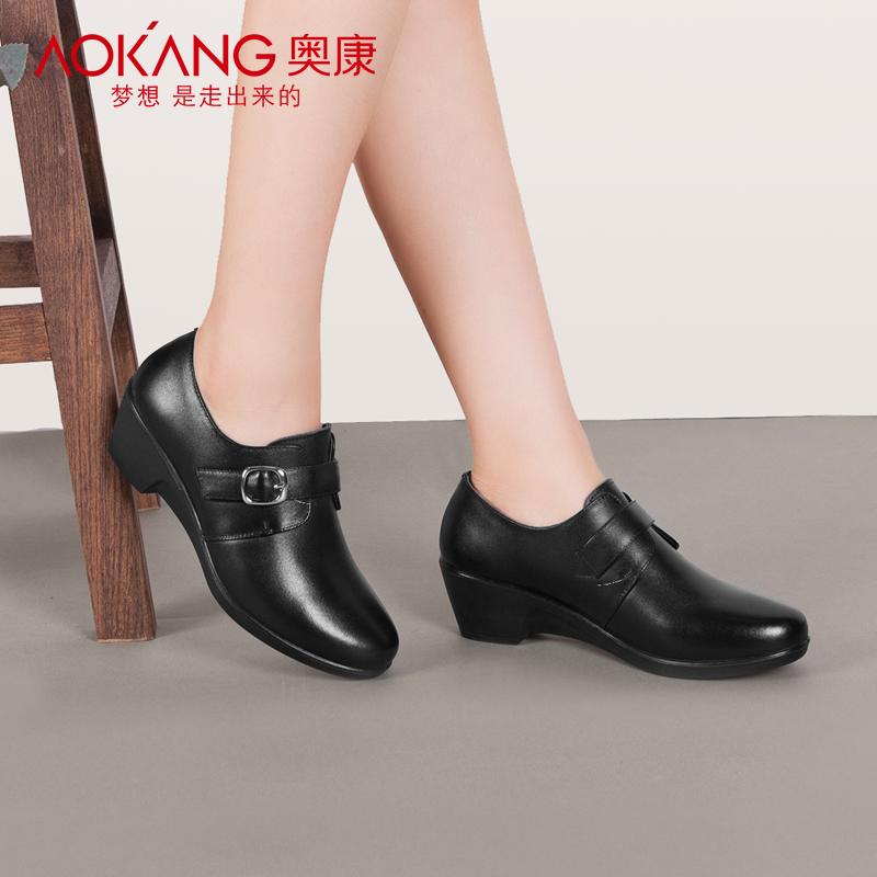奥康女鞋真皮妈妈鞋坡跟软底2018秋季新款中年浅口单鞋女休闲皮鞋