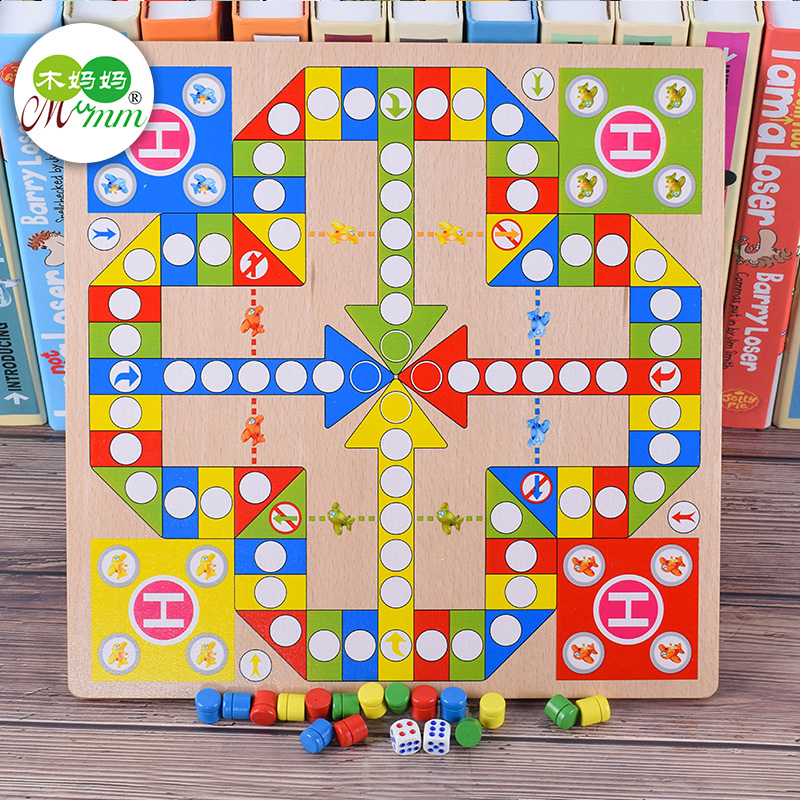flying chess Children's checkers five-e-fight animal pawn game board games chess puzzle wooden