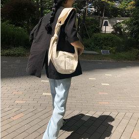 饺子包女斜挎学生原宿风日系百搭ins单肩打结慵懒风帆布包chic潮