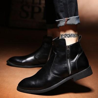秋季尖头马丁靴男靴子韩版拉链高帮皮鞋软底全黑色百搭英伦短靴男