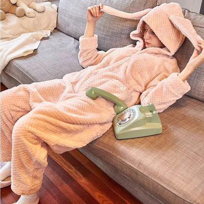 兔子动物连体睡衣女冬季加厚卡通可爱学生珊瑚绒韩版成人套装秋冬