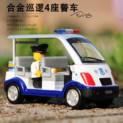 凯迪威合金工程车儿童警车玩具警察巡逻车男孩小汽车合金汽车模型