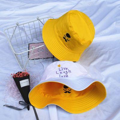 旅游时髦造型便宜常宽松四季两用淡紫色渔夫帽女双面戴褶皱