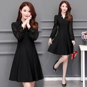 显瘦中长款 雪纺长袖 大码 修身 连衣裙女春装 打底裙子 2019年新款 韩版图片