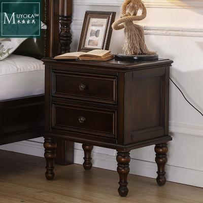 美式实木床头柜卧室床边柜抽屉柜储物柜黑胡桃色今日特惠
