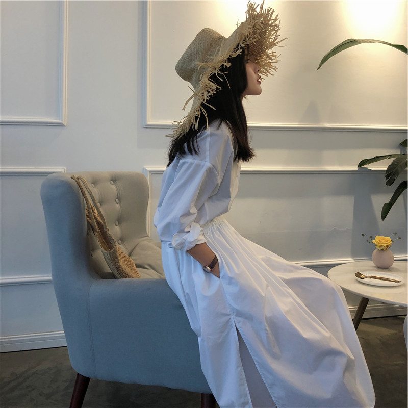 衬衣白色连衣裙