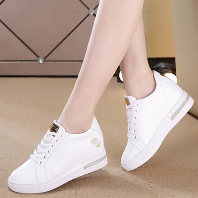 2018新款内增高女鞋单款休闲鞋坡跟小白鞋时尚透气网鞋运动鞋女潮