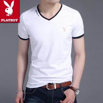 领短袖鸡心领纯棉韩版纯色青年体恤修身上衣潮 v 恤男 T 花花公子夏季