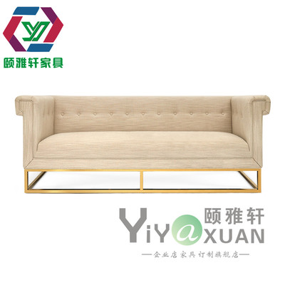 现代美式简约亚麻客厅布北欧实木沙发时尚轻奢金属三人布艺沙发品牌巨惠