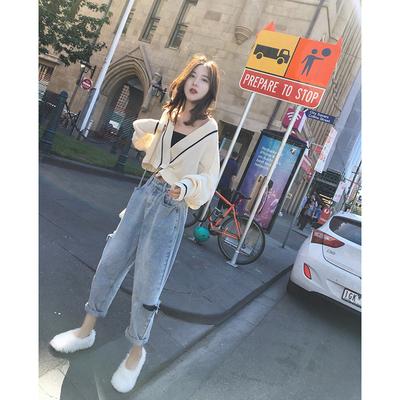 张贝贝ibell2018秋冬新款韩版古着感少女毛衣开衫披肩针织衫外套
