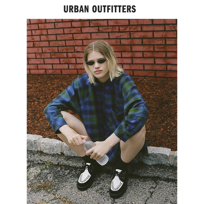 Urban Outfitters女式Oversize柔软棉质女长袖格子衬衣2018夏新