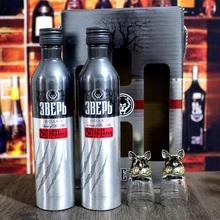 带一对专属杯 礼盒装 进口铝罐猎狼野兽伏特加500ml 俄罗斯原装