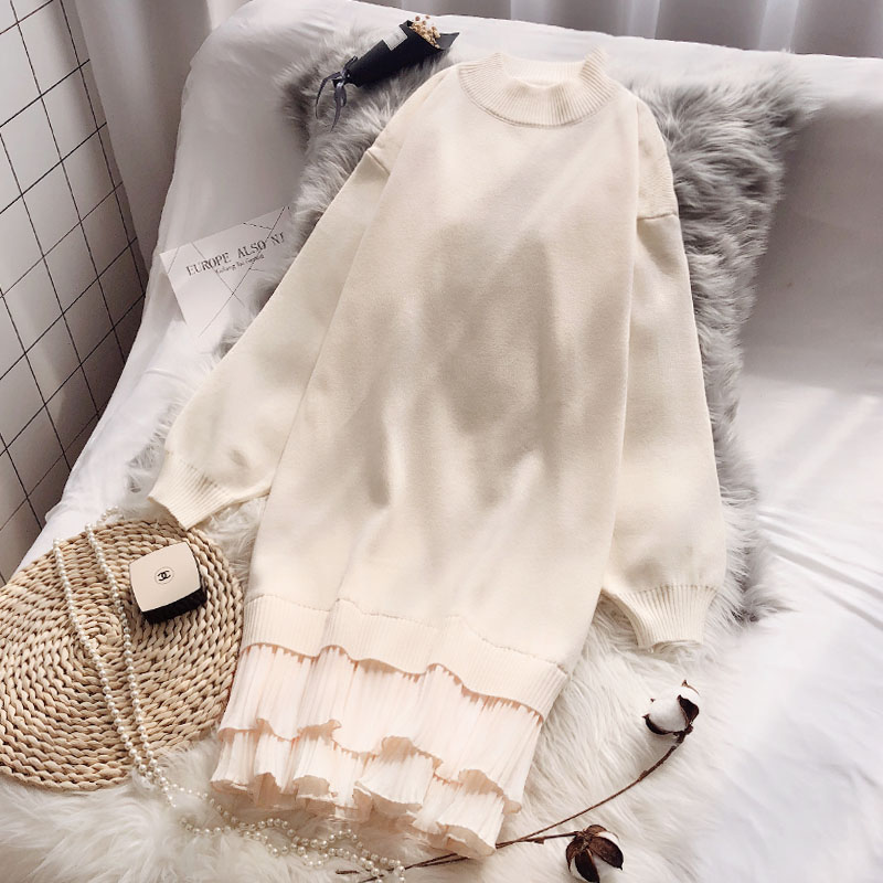 很仙的毛衣裙中长款2019新款春装套头宽松韩版针织打底加厚连衣裙