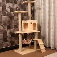 Sisal cat climbing frame solid wood cat scratching tree house cat toy cat scratch board jumping cat cat nest cat frame cat furniture four seasons
