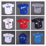 Children's wear children's short-sleeved half-sleeve baseball uniform cardigan t-shirt top loose hip-hop hip-hop hiphop men and women summer