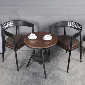 铁艺餐椅休闲椅洽谈椅子美式实木复古工业风奶茶店咖啡厅桌椅组合