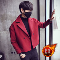 Windbreaker men's short coat autumn and winter 2018 new Korean version of hair stylist woolen coat lapel jacket tide male cloak