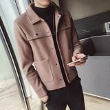 2018秋冬季短款风衣男韩版潮流帅气修身毛呢大衣休闲呢子夹克外套