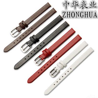 薄款平纹牛皮黑白棕红色手表带女真皮带女细表链6 7 8 10 12 13mm