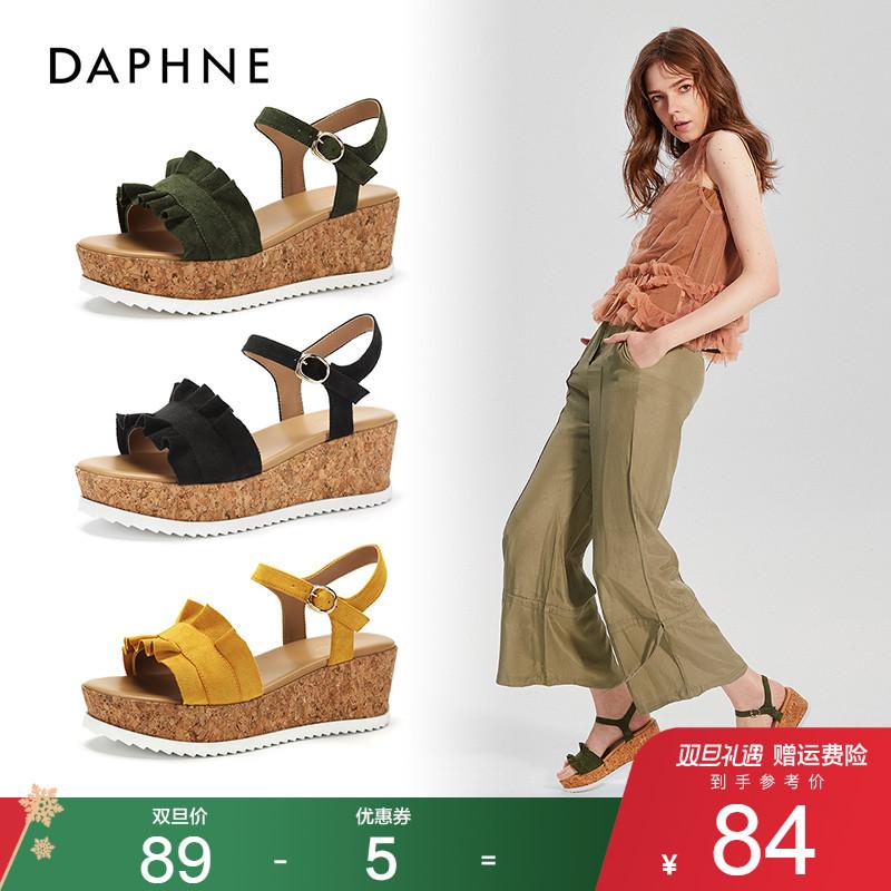 达芙妮凉鞋女夏2018新款韩版一字扣学生女鞋松糕厚底坡跟高跟鞋女
