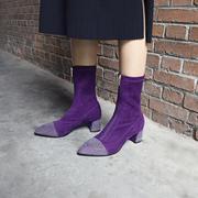 胖妹妹长靴子大粗腿 胖mm过膝大码靴子女41-43单靴短筒靴粗腿围肥