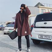冬季bf风呢子大衣韩版中长款风衣男学生潮流加棉加厚ulzzang外套