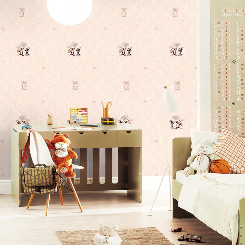 卡通熊无纺布墙纸 厂家直销环保儿童房男孩女孩卧室房间卡通壁纸