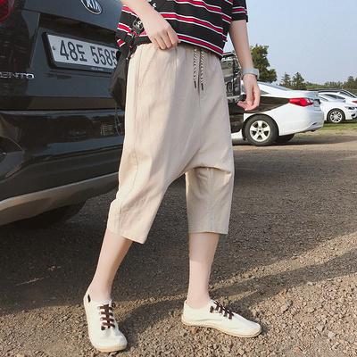 夏季韩版个性嘻哈跨裤七分裤男女低档垮裤掉档7分短裤吊裆哈伦裤
