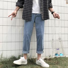 夏季男生浅色九分牛仔裤男薄款潮牌宽松直筒坠感阔腿裤子韩版潮流图片