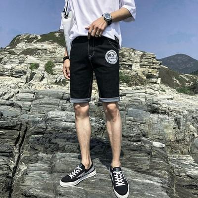 男生新款五分牛仔短裤男夏季薄款韩版潮流个性中裤青少年弹力5分
