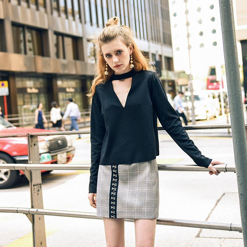【专】新款蝴蝶结项圈上衣颈带长袖V领衬衫欧美女装显瘦修身小衫